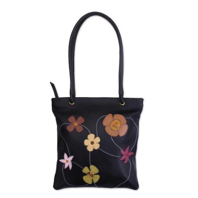 Leather handbag, 'Night Flowers' - Hand Made Floral Leather Shoulder Bag