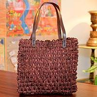 Sabai grass tote handbag, 'Country Wine' - Sabai Grass Tote Handbag in Russet