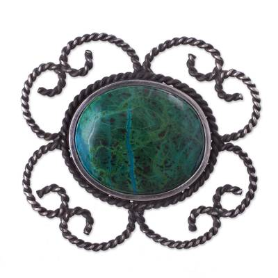 Floral Sterling Silver Chrysocolla Brooch Pin