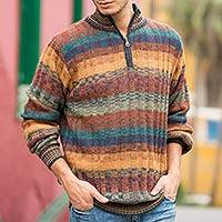 Men's 100% alpaca sweater, 'Voyager' - Peruvian 100% Alpaca Men's Zip-Turtleneck Hand Knit Sweater