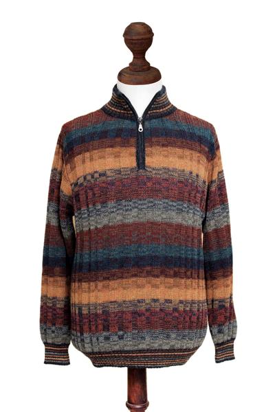 Men's 100% alpaca sweater, 'Voyager' - Peruvian 100% Alpaca Men's Zip-Turtleneck Hand Knit Sweater