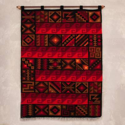 Wool tapestry, 'Crimson Inca Calendar' - Handwoven Red Wool Tapestry with Pre-Hispanic Motifs