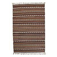 Zapotec wool rug, 'Gray Sky' (5x7.5) - Zapotec wool rug (5x7.5)