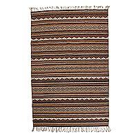 Zapotec wool rug, 'Gray Sky' (5x7.5)
