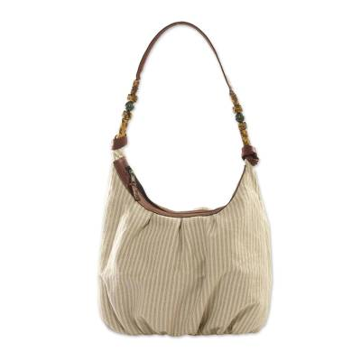 Leather accent natural cotton hobo bag, 'Modern Maya Memories' - 100% Cotton Shoulder Bag with Leather Accents and Jade Beads