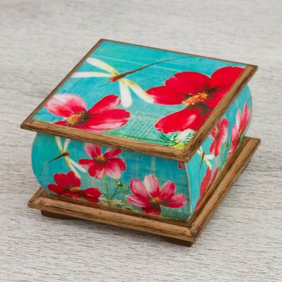 Small Decoupage Floral Wood Box with Dragonflies, \u0027Dragonfly Bliss\u0027