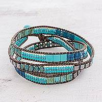 Glass beaded wrap bracelet, 'Mayan Monolith'