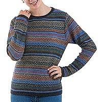 100% alpaca pullover, 'Cozy Midnight' - 100% Alpaca Wool Multicolored Pullover from Peru