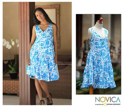 Cotton batik dress, 'Balinese Sea' - Hand Crafted Batik Cotton Dress with Tiered Ruffles