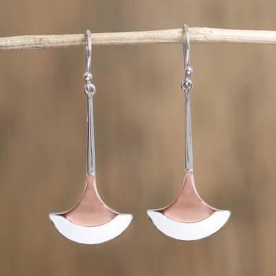 Sterling silver and copper dangle earrings, Elegant Blades