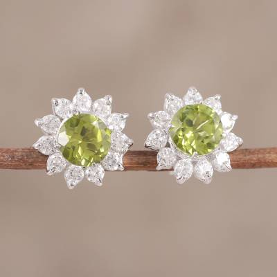 Peridot and cubic zirconia stud earrings, 'Gleaming Flower' - Peridot and CZ Rhodium-Plated Sterling Silver Stud Earrings