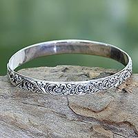 Sterling silver bangle bracelet, 'Timeless Bali'