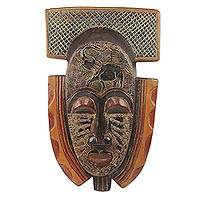 African wood mask, 'Royal Elephant' - Elephant Theme Hand Made African Mask from Ghana