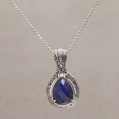 Sapphire pendant necklace, 'Floral Queen' - Sapphire and Sterling Silver Pendant Necklace from Bali