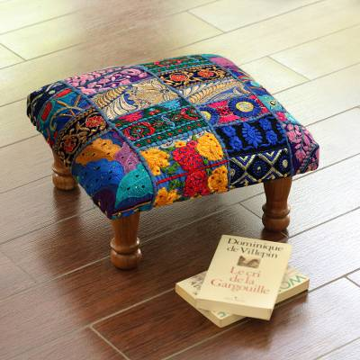 Embellished ottoman, 'Lapis Patchwork' - Fair Trade Embellished Ottoman Foot Stool from India