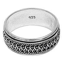 Sterling silver meditation spinner ring, 'Dragon Scale'