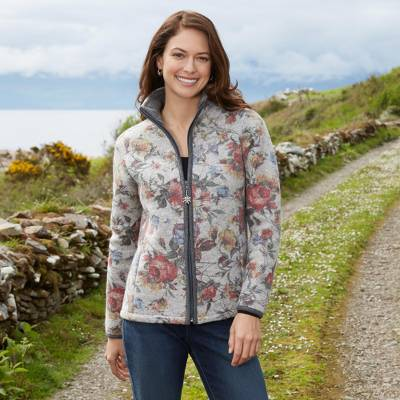 Wool blend jacket, 'Alpen Rose' - Italian Alps Floral Wool Blended Jacket