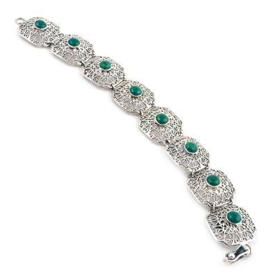 Sterling Silver and Chrysocolla link bracelet Lima Colonial