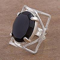 Obsidian cocktail ring, 'Be Bold' - Obsidian Ring Artisan Crafted Sterling Silver Jewelry