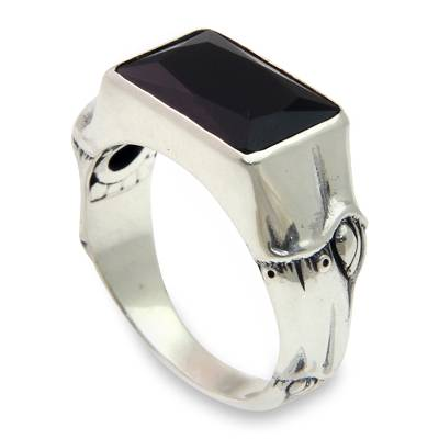Men's onyx ring, 'Midnight Bamboo' - Balinese Handmade Men's Silver and Black Onyx Ring