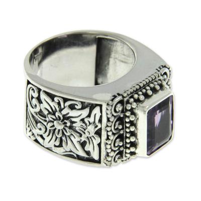 Amethyst cocktail ring, 'Royal Beauty' - Balinese Silver and Amethyst Cocktail Ring