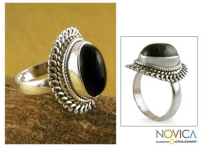 Onyx cocktail ring, 'Black Majesty' - Onyx cocktail ring