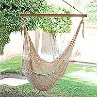 Cotton hammock swing chair, 'Deserted Beach' - Unique Mexican Ivory Cotton Swing Hammock