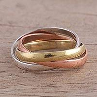 Sterling silver, copper, and brass band ring, Classic Trio