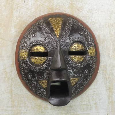 Ghanaian wood mask, 'Beautiful Soul' - Hand Crafted African Wood Mask