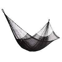Hammock, 'Black Relaxation' (double) - Hand Woven Nylon Black Hammock (Double) from Mexico