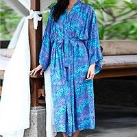 Batik robe, 'Ocean Symphony' - Handcrafted Batik Robe from Indonesia