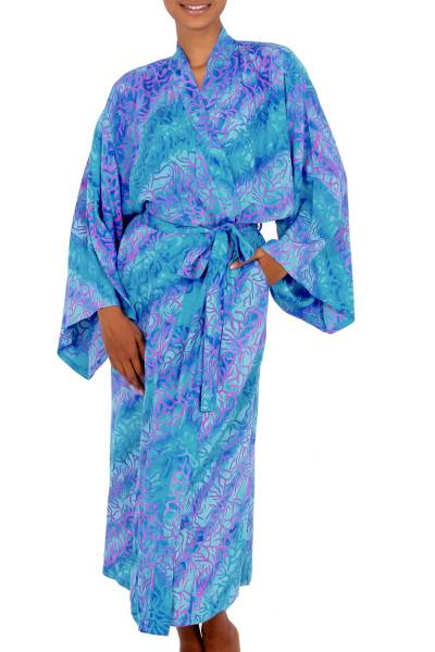 Batik robe, 'Ocean Symphony' - Handcrafted Batik Robe from Indonesia