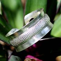Sterling silver cuff bracelet, 'Eccentric'