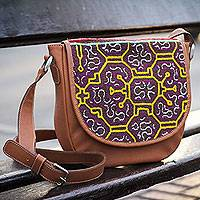 Leather and cotton shoulder bag, 'Sunny Shipibo Paths' - Fair Trade Leather Shoulder Bag with Embroidered Flap
