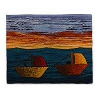 Wool tapestry, 'Peruvian Coast' - Wool tapestry