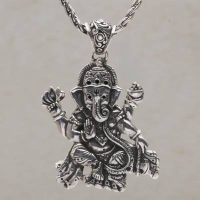 5ff5e2835 Sterling silver pendant necklace, 'Ganesha Semedi' - Large Ganesha Pendant  Necklace on Braided