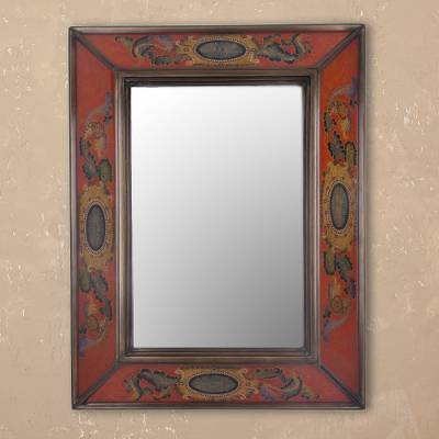 Reverse-painted glass wall mirror, 'Floral Medallions in Scarlet' - Floral Reverse-Painted Glass Mirror in Scarlet from Peru