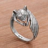 Sterling silver cocktail ring, 'Beautiful Bat' - Handcrafted Sterling Silver Bat Cocktail Ring from Bali