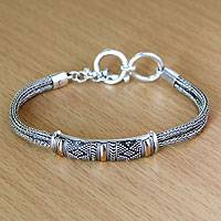 Gold accented sterling silver bracelet, 'Naga's Mystery'