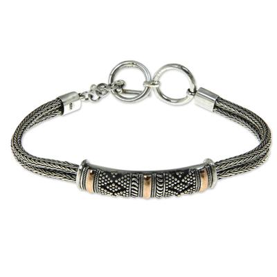 Gold accented sterling silver bracelet, 'Naga's Mystery' - 18k Gold Accented Sterling Silver 925 Bracelet