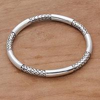 Sterling silver bangle bracelet, 'Bali Show'