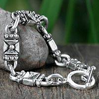 Sterling silver link bracelet, 'Lock and Key' (7 inch)