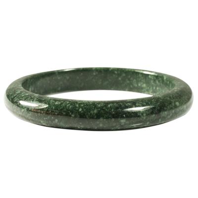 Jade bangle bracelet, 'Circle in the Forest' - Fair Trade Good Luck Jade Bangle Bracelet