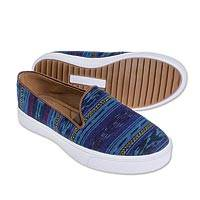 Cotton slip-on sneakers, 'Guatemalan Adventure' - Jaspe Weave Blue Cotton Slip-on Sneakers