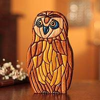 Ishpingo statuette, 'Wise Owl' - Peruvian Hand Carved Owl Sculpture
