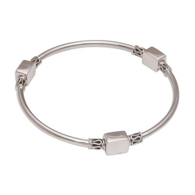 Sterling silver bangle bracelet, 'Square Reflection' - Sterling Silver Square Shape Bangle Bracelet from Bali