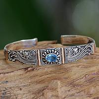 Gold accented blue topaz cuff bracelet, 'Paradise' - Blue Topaz Cuff Bracelet with Gold Accents