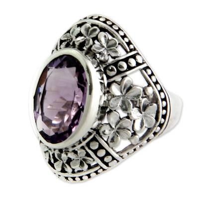 Amethyst cocktail ring, 'Silence' - Amethyst Floral Motif Cocktail Ring
