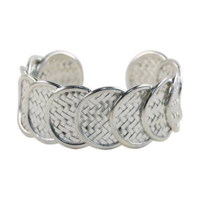 Sterling silver cuff bracelet, 'Shield of Honor' - Sterling Silver Cuff Bracelet with Woven Motif