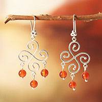 Carnelian chandelier earrings, 'Pinwheel' - 925 Sterling Silver And Carnelian Bead Chandelier Earrings